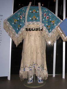 Yankton Dakota (Sioux) two-hide pattern dress with fully beaded yoke.