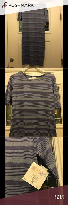 LulaRoe Julie dress Brand new, never worn; purple and gray Julia; tags still attached LuLaRoe Dresses