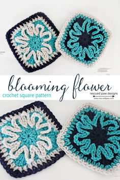 Blooming Flower, free crochet square pattern by Rescued Paw Designs