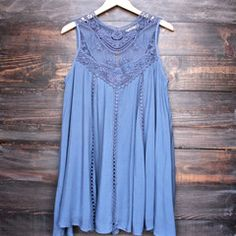 A cute oversized flowy slate blue colored bohemian lace dress. Soft blue toned sheer yoke upper lace adorns this darling flirty vintage style dress. - 100% rayon - hand wash cold, lay flat to dry - im