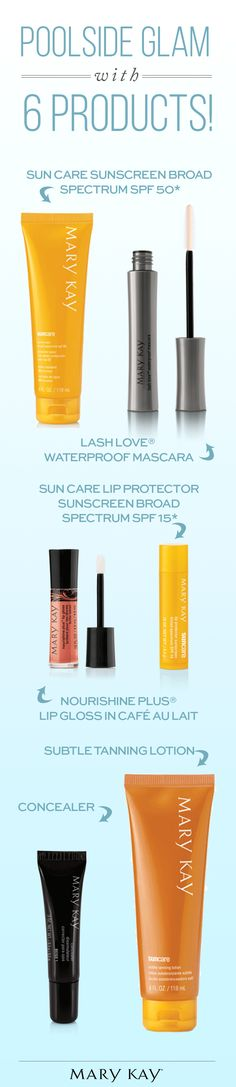 Look your best relaxing poolside with beauty products that can take the heat. A little sun protection, concealer, waterproof mascara, and lip gloss will have you ready for a day in the sun! | Mary Kay