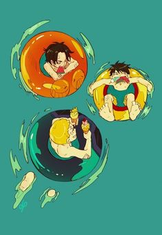 Summer ASL brothers Monkey D. Luffy, Portgas D. Ace, and Sabo One piece art blue