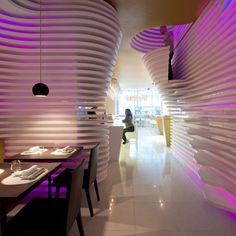 Japanese Sushi Restaurant Interior << Amazing wall features.