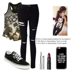 """""""band concert"""" by creepypasta-is-mah-life ❤ liked on Polyvore featuring Miss Selfridge, Vans, Clinique, Lipstick Queen and Casetify"""