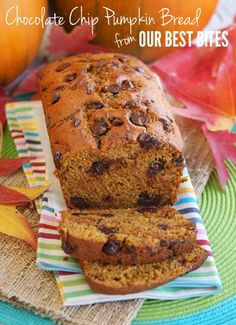 Some Chocolate Chip Pumpkin Bread sounds sooo good! Just click for the recipe!  #bread #recipes #pumpkin