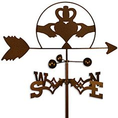 @Overstock - This weathervane is made of strong 14-gauge steel with a sealed ball bearing in the wind cups. The weathervane is coated with copper-colored powder coat paint, and features an Irish claddagh symbol. http://www.overstock.com/Home-Garden/Handmade-Irish-Celtic-Claddagh-Weathervane/6575838/product.html?CID=214117 $52.99