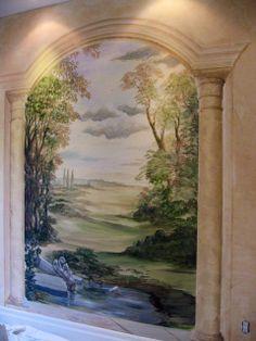 Mural in living room.