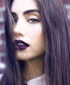 currently one of my favourite looks. dark violet lips with soft browns. one for the cooler months.