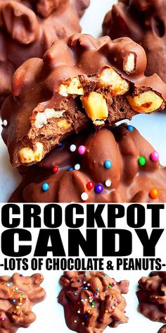 CROCKPOT CANDY RECIPE- Easy homemade slow cooker candy (chocolate peanut clusters) recipe that's full of white chocolate, semisweet chocolate, peanut butter, salted peanuts and sprinkles. Can be made in microwave or stovetop too. From CakeWhiz.com