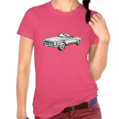 Mercedes Benz 280 SL Convertible Illustration Tee Shirt