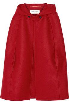 Saint Laurent Hooded wool cape   NET-A-PORTER