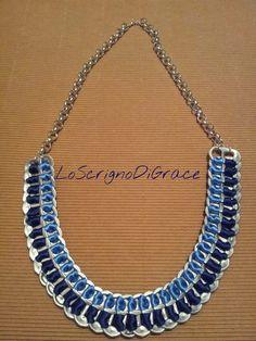Collana con linguette delle lattine e raso azzurro e blu
