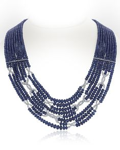 Sapphire Beads, Diamonds & Platinum Bowlero Necklace, 8 strands of sapphires =500 carats. 2.02carats diamonds