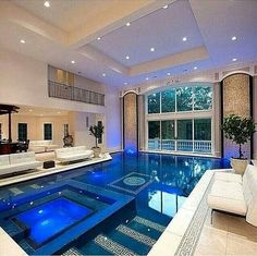 Indoor Swimming Pool Ideas - You want to build a Indoor swimming pool? Here are some Indoor Swimming Pool designs and ideas for you. Indoor Swimming Pools, Swimming Pool Designs, Indoor Jacuzzi, Lap Pools, Swiming Pool, Pools Inground, Kids Swimming, Future House, Luxury Pools
