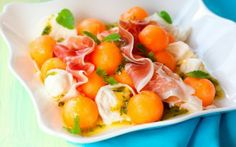 4 salads with summer fruits that aren't gelatin-ized - Food and Dining - Wilmington Star News - Wilmington, NC Fruit Salad, Cobb Salad, Mozzarella, Summer Fruit, Prosciutto, Tasty Dishes, Watermelon, Yummy Food, Lunch