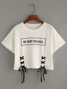 White Letter Print Lace-Up Crop T-shirtFor Women-romwe