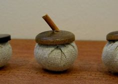 homework: Sew and Tell: fabric and button acorns