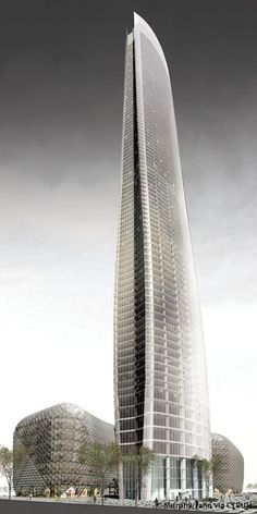Nanjing Olympic Sunning Tower, Nanjing, China by Murphy/Jahn Arhitects, 88 floors, height 400m
