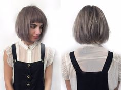 Short bob with razored layers and soft undercut. Cute short mod bangs and lavender violet color. By Denessa Sims