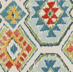 Red Blue Ikat Upholstery Fabric by the Yard - Ikat Fabric for Furniture - Navajo Fabric for Curtains Roman Shades - Blue Green Fabrics