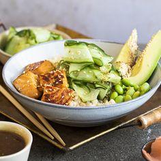 Bol de saumon teriyaki   Metro Asian Recipes, Healthy Recipes, Ethnic Recipes, Healthy Food, Poke Bol, Tasty, Yummy Food, Seafood Recipes, Salads