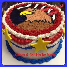 4th of July cake   Independence Day cake  Eagle, Stars and Stripes, fondant stars! https://www.facebook.com/KassCrafts