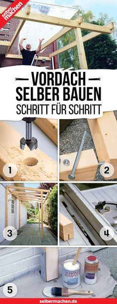 Vordach selber bauen: So geht's With this free construction manual you can build yourself a new canopy! Construction manual garbage canboBuilding instructions for a highMobile stand for the Backyard Sheds, Backyard Patio, House Entrance, Pergola Plans, Woodworking Crafts, Planer, Garden Design, It Works, Building