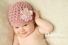 Ravelry: Textured Beanie with Daisy pattern by Jenny Allbritain