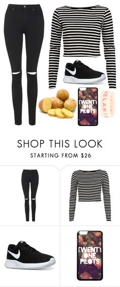 """""""this is me, the little sister that just invaded the phone"""" by marsophie ❤ liked on Polyvore featuring Topshop, River Island, NIKE and Hot Topic"""