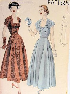 1940s EVENING DRESS PATTERN LOVELY BIAS CIRCULAR SKIRTED, LOW SQ NECKLINE or CAPE COLLAR VERSION, VOGUE PATTERNS 6601