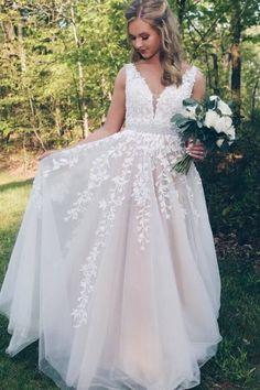 Elegant Ivory Long Prom Dress with Lace Appliques Ivory Prom Dresses, A Line Prom Dresses, Beautiful Prom Dresses, Long Wedding Dresses, Cheap Prom Dresses, Homecoming Dresses, Evening Dresses, Dress Long, Lace Dress