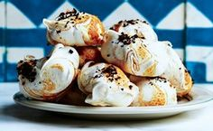 Hazelnut Butter and Coffee Meringues – Simple meringue kisses get an update with nut butter swirled into the batter. A coffee glaze is an elegant finishing touch.
