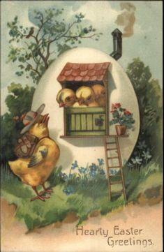 Easter-Fantasy-Egg-Home-For-Dressed-Chicks-PFB-c1910-Postcard