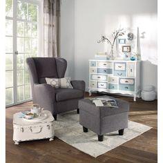 Sessel mit Hocker, 100% Polyester
