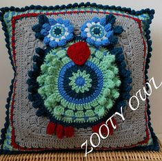 Popcorn Owl Cushion pattern by zelna olivier $5.00