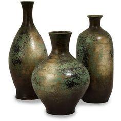 Mazatlan Vases: Set of 3 (340 BRL) ❤ liked on Polyvore featuring home, home decor, vases, fillers, props, backgrounds, handmade ceramic vase, coloured vases, set of three vases and ceramic home decor