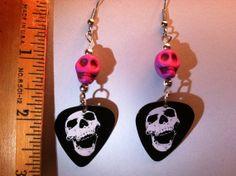 Skull Guitar Pick Dangle Earrings with Purple by ToriGreeneDesigns, $7.00