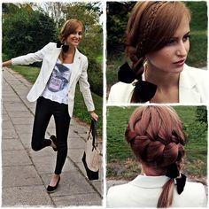 H&M Blazer, Bershka Pants, Mohito Bag, Denim Co Blouse, Vintage Bow