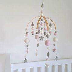 Baby Pink & Dove Grey Cot Mobile Felt Ball Mobile Baby