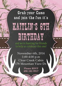 Items similar to Camo Girl Hunting Birthday Party PRINTABLE Invitation camouflage Light Pink realtree chalkboard on Etsy Pink Camo Birthday, Pink Camo Party, Hunting Birthday, Hunting Party, Girl Birthday, Pink Invitations, Printable Invitations, Birthday Party Invitations, Birthday Party Themes