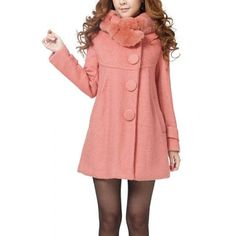 Solid Color Stunning Style Worsted Long Sleeves Bow Tie Coat For Women