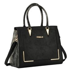 SY1620 Black - Sally Young Snakeskin Handle Handbag
