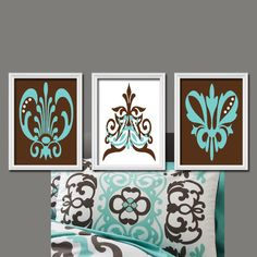 Brown Teal Aqua Damask Abstract Artwork Set of 3 Trio Prints Bedroom Wall Decor Art Picture 8x10. $30.00, via Etsy.