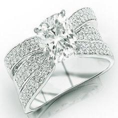 14K White Gold Modern Pave Set Triple Row Diamond Engagement Ring