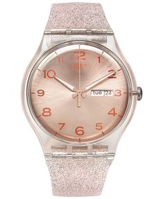Shop for Women Swiss Pink Glistar Pink Glitter Semi-Transparent Silicone Strap Watch by Swatch at ShopStyle. Swatch, Watches Photography, Pink Watch, Pink Jewelry, Jewlery, Cool Stuff, Cool Watches, Women's Watches, Semi Transparent