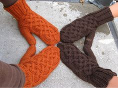 Mittens -I really like this cable pattern
