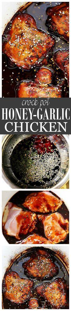 how to make crock pot honey garlic chicken thighs cooked in an honey-garlic sauce.