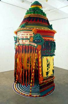 Xenobia Bailey - Sistah Paradise great Wall of Fire Revival Tent 1999...Hand crochet, cotton, acrylic yarns, 10 x 5ft.in diameter at Stefan Stux Gallery