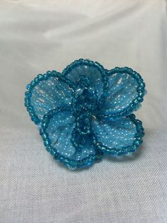 Bead flower orchid small blue, for sale at ellensbeadflowers.webs.com