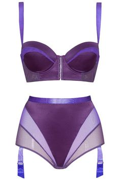 High-waisted suspender brief and corset bra - Inverted triangle